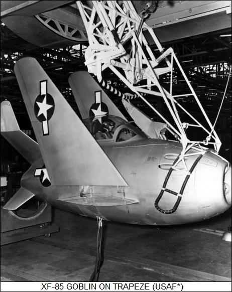 XF-85 Goblin on trapeze