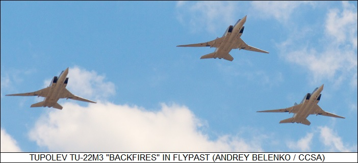 Tupolev Tu-22M3 Backfires in flypast